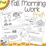 Fall Morning Work PreK Preschool