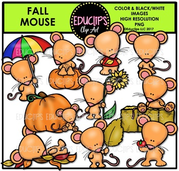 Fall Mouse Clip Art Bundle {Educlips Clipart}