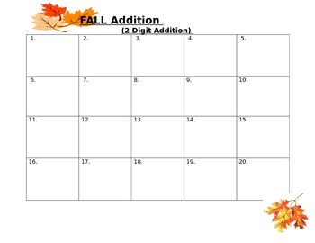 Fall Move Around Addition Game