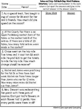 Fall Multi-Step Problems Solve and Snip® Interactive Word Problems
