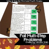 Fall Math Activity | Multi-Step Problems Solve and Snip® |