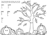 Fall Multiplication Coloring Pages