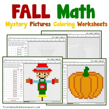 Fall Multiplication Coloring Worksheets (Autumn)