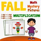 Multiplication Color-Number, Fall Multiplication Worksheet Autumn Math Activity