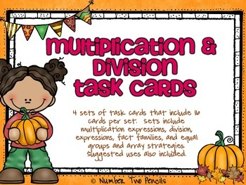 Fall Multiplication & Division Task Cards-4 Sets