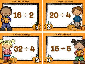 Fall Multiplication & Division Task Cards-4 Sets