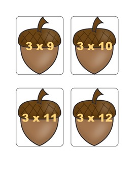 Fall Multiplication Fact Games BUNDLE - All Facts from 1 - 12