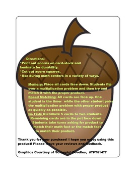 Fall Multiplication Fact Games ( x 4)