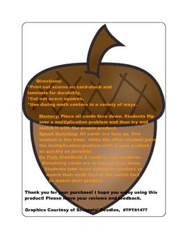 Fall Multiplication Fact Games ( x 5)