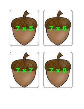 Fall Multiplication Fact Games ( x 7)