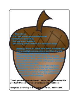 Fall Multiplication Fact Games ( x 8)