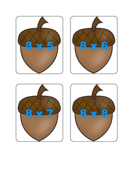 Fall Multiplication Fact Games ( x 8)