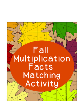 Fall Multiplication Facts Matching Puzzle Activity Cutting