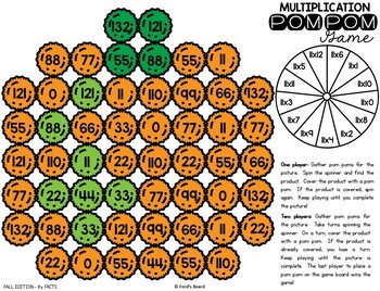 Fall Multiplication Games | Fall Multiplication Fact Practice