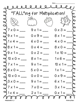 fall multiplication practice worksheet pack pages by  little baers