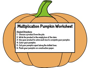Fall Multiplication Pumpkin Puzzle and Worksheet