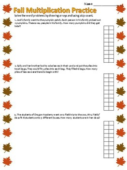 Fall Multiplication - Single Digit Word Problems