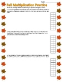 Fall Multiplication - Single Digit Word Problems