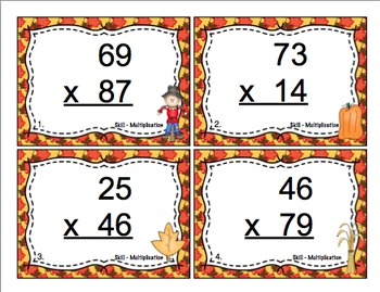 Fall Multiplication Task Card Bundle
