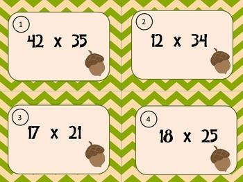 Fall Multiplication Task Cards