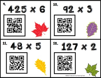 Fall Multiplication Task Cards