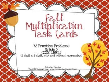 Fall Multiplication Task Cards {32 Fall-Themed Task Cards}