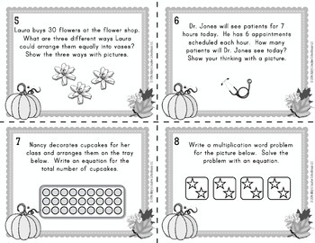 Multiplication Word Problem Task Cards - Fall Themed