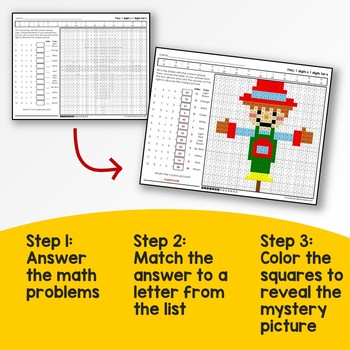 Division Mystery Pictures Fall Multiplication Coloring Worksheets