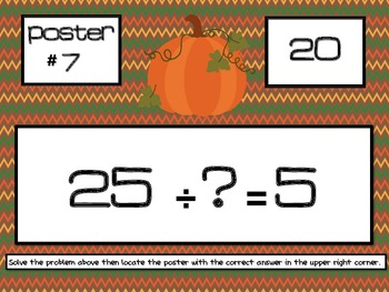 Fall Multiplication and Division Scavenger Hunt - Around the Room