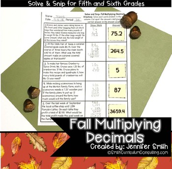 Fall Multiplying Decimals Solve and Snip® Interactive Word Problems