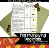 Fall Math Activity | Multiplying Decimals Solve and Snip® | Fall Math Station