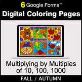 Fall: Multiplying by Multiples of 10, 100, 1000 - Digital Coloring Pages