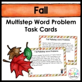 Fall Multistep Word Problem Task Cards (Grade 4)