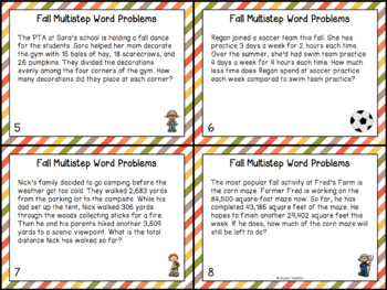 Fall Multistep Word Problem Task Cards (Grade 4)