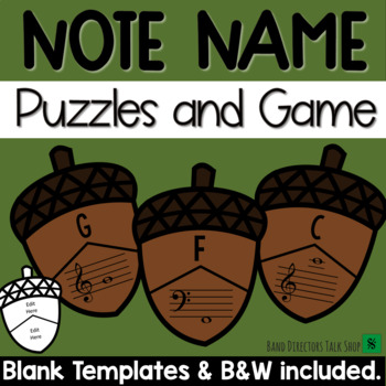 Fall Music Activities - Acorn Note Name Puzzle