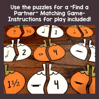 Fall Music Activities - Pumpkin Halloween Music Math Puzzles and Game