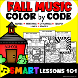 Fall Music Color by Code Worksheets Note Rhythm Dynamics Tempo Distance Learning