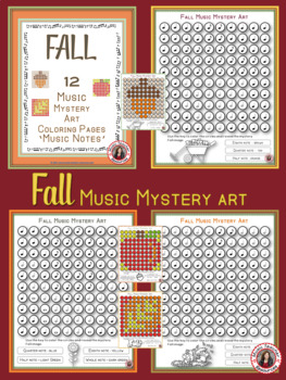 Fall Music Coloring Sheets: 12 Music Coloring Pages: Music Mystery Art
