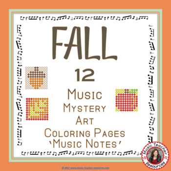 Fall Music Activities: 12 Music Coloring Pages: Music Mystery Art