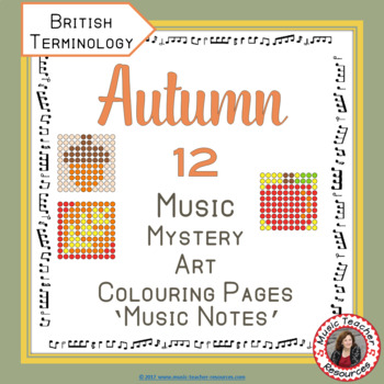 Autumn Music Colouring Sheets: 12 Music Colouring Pages: Music Mystery Art
