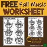 Thanksgiving Music Worksheet Fall FREEBIE!