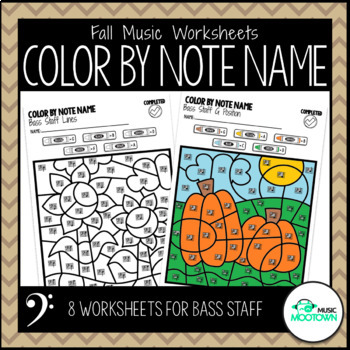 Fall Music Worksheets: Color by Note Name - Bass Staff
