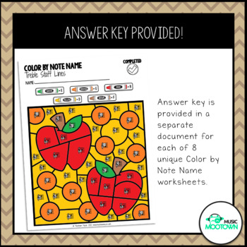 Fall Music Worksheets: Color by Note Name - Treble Staff