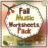 Fall Music Worksheets Pack (Line-Space, High-Low)
