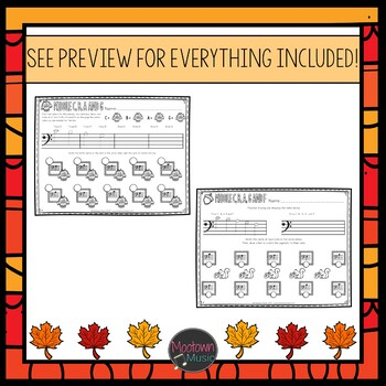 Fall Music Worksheets: Young Beginners Bass Staff Bundle
