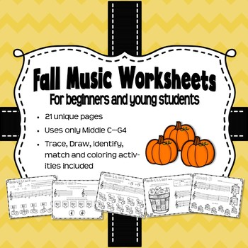 Fall Music Worksheets for Young Beginners