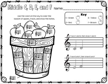 Fall Music Worksheets: Young Beginners Treble Staff Bundle