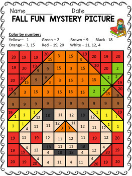 Fall Mystery Pictures - Color by the Letter Activity