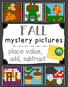 Fall Hundreds Chart Mystery Pictures - Place Value, Add, Subtract