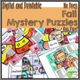Fall Mystery Puzzles for First Grade DIGITAL & PRINTABLE